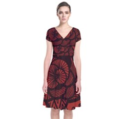 Background Abstract Red Black Short Sleeve Front Wrap Dress