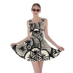 Background Abstract Beige Black Skater Dress