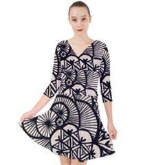 Background Abstract Beige Black Quarter Sleeve Front Wrap Dress by Pakrebo