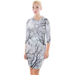 Forest Trees Silhouette Tree Quarter Sleeve Hood Bodycon Dress by Pakrebo