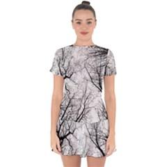 Forest Trees Silhouette Tree Drop Hem Mini Chiffon Dress by Pakrebo