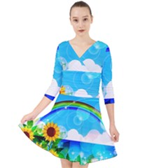 Sunflower And Rainbow Ocean Bokeh Quarter Sleeve Front Wrap Dress by Pakrebo