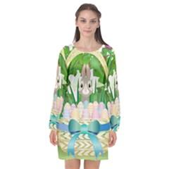 Graphic Easter Easter Basket Spring Long Sleeve Chiffon Shift Dress