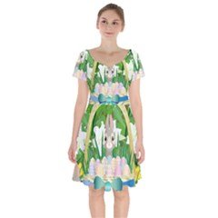 Graphic Easter Easter Basket Spring Short Sleeve Bardot Dress by Pakrebo