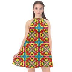 Seamless Pattern Tile Tileable Halter Neckline Chiffon Dress