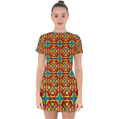 Seamless Pattern Tile Tileable Drop Hem Mini Chiffon Dress