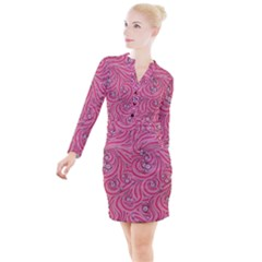 Pattern Doodle Design Drawing Button Long Sleeve Dress