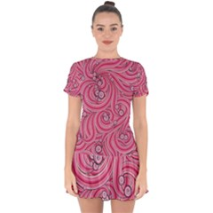 Pattern Doodle Design Drawing Drop Hem Mini Chiffon Dress