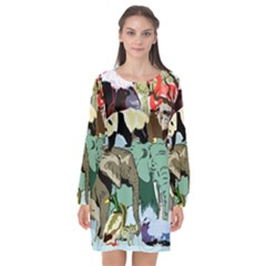 Zoo Animals Peacock Lion Hippo Long Sleeve Chiffon Shift Dress