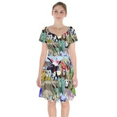 Zoo Animals Peacock Lion Hippo Short Sleeve Bardot Dress