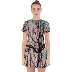 Fruit Tree Silhouette Aesthetic Drop Hem Mini Chiffon Dress
