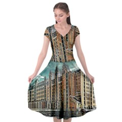 Architecture City Building Travel Cap Sleeve Wrap Front Dress
