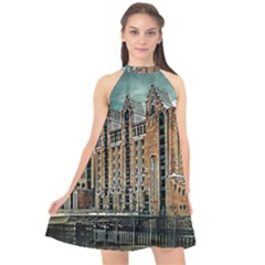 Architecture City Building Travel Halter Neckline Chiffon Dress  by Pakrebo