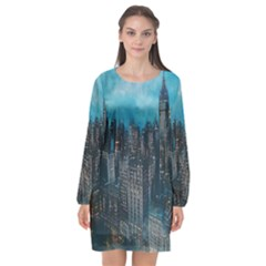 Cityscape Buildings Skyscraper Long Sleeve Chiffon Shift Dress
