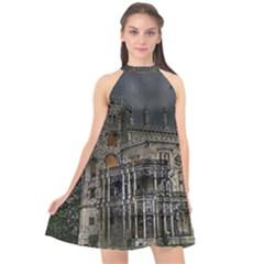 Castle Mansion Architecture House Halter Neckline Chiffon Dress  by Pakrebo