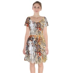 Collage Art The Statue Of Shell Short Sleeve Bardot Dress