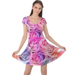 Rose Bouquet Flower Petal Floral Cap Sleeve Dress by Pakrebo