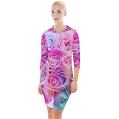 Rose Bouquet Flower Petal Floral Quarter Sleeve Hood Bodycon Dress by Pakrebo