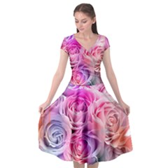 Rose Bouquet Flower Petal Floral Cap Sleeve Wrap Front Dress by Pakrebo