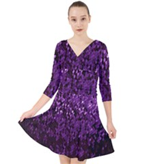 Sequins  White Purple Quarter Sleeve Front Wrap Dress