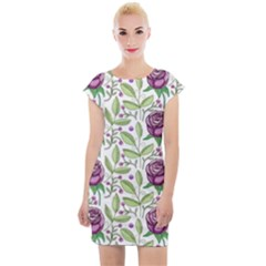Default Texture Background Floral Cap Sleeve Bodycon Dress by Pakrebo