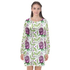 Default Texture Background Floral Long Sleeve Chiffon Shift Dress