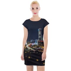 Night City Seoul Travel Korea Sky Cap Sleeve Bodycon Dress