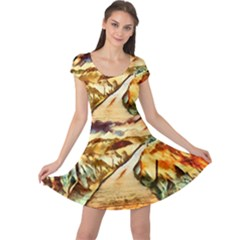 Painting Expressive Colors Texture Cap Sleeve Dress