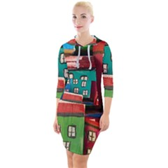 Houses Handmade Cultural Quarter Sleeve Hood Bodycon Dress by Pakrebo