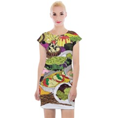 Eat Food Background Art Color Cap Sleeve Bodycon Dress by Pakrebo