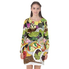 Eat Food Background Art Color Long Sleeve Chiffon Shift Dress