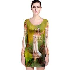 Beautiful Fairy With Wonderful Flowers Long Sleeve Bodycon Dress by FantasyWorld7
