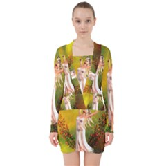 Beautiful Fairy With Wonderful Flowers V Neck Bodycon Long Sleeve Dress by FantasyWorld7