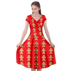 Gingerbread Cookie Christmas Cap Sleeve Wrap Front Dress by AnjaniArt