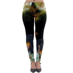 Cute Fairy With Awesome Wolf In The Night Lightweight Velour Leggings by FantasyWorld7