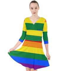 Lgbt Rainbow Pride Flag Quarter Sleeve Front Wrap Dress by lgbtnation