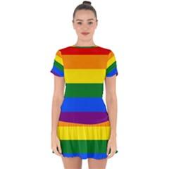 Lgbt Rainbow Pride Flag Drop Hem Mini Chiffon Dress by lgbtnation