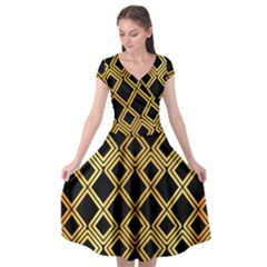 Arabic Pattern Gold And Black Cap Sleeve Wrap Front Dress by Nexatart