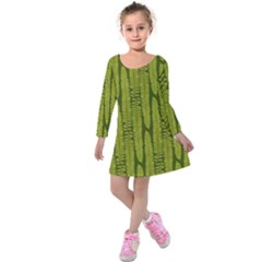 Fern Texture Nature Leaves Kids  Long Sleeve Velvet Dress