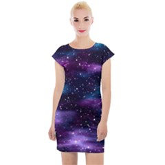 Background Space Planet Explosion Cap Sleeve Bodycon Dress by Nexatart