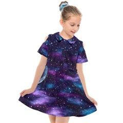 Background Space Planet Explosion Kids  Short Sleeve Shirt Dress by Nexatart