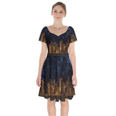 Architecture Buildings City Short Sleeve Bardot Dress by Pakrebo