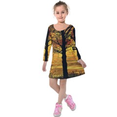 Nature Sunset Landscape Sun Kids  Long Sleeve Velvet Dress