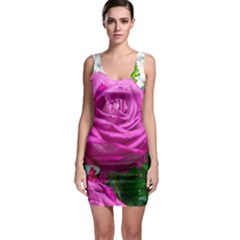 Rose Pink Purple Flower Bouquet Bodycon Dress