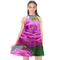 Rose Pink Purple Flower Bouquet Halter Neckline Chiffon Dress