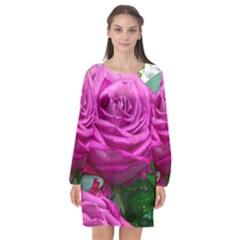 Rose Pink Purple Flower Bouquet Long Sleeve Chiffon Shift Dress
