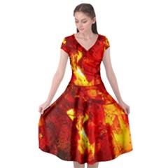 Bernstein Burning Stone Gem Cap Sleeve Wrap Front Dress by Pakrebo
