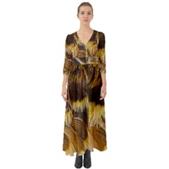 Wing Feather Bird Animal World Button Up Boho Maxi Dress by Pakrebo