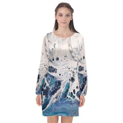 Paint Acrylic Paint Art Colorful Long Sleeve Chiffon Shift Dress