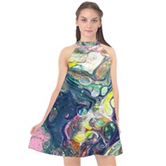 Paint Acrylic Paint Art Colorful Halter Neckline Chiffon Dress  by Pakrebo